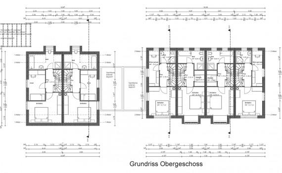 Von Friedl Immobilien für 2016 geplantes Objekt in München Neuaubing: Grundriss der Obergeschosse der Anlage