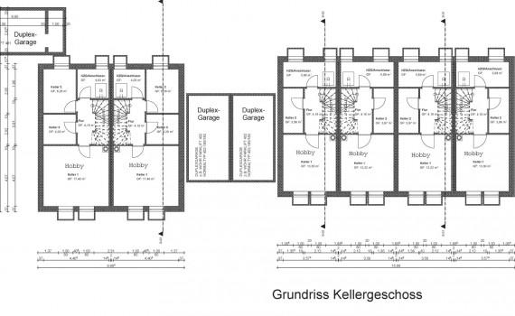 Von Friedl Immobilien für 2016 geplantes Objekt in München Neuaubing: Grundriss der Untergeschosse der Anlage